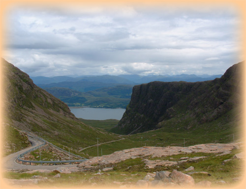 Looking west- back at the road leading up to Bealach nam Ba