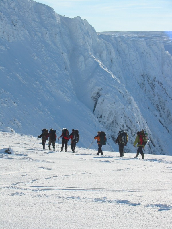 Crossing the rim of Coire an t sneachda Cairngorm Plateau Expedition