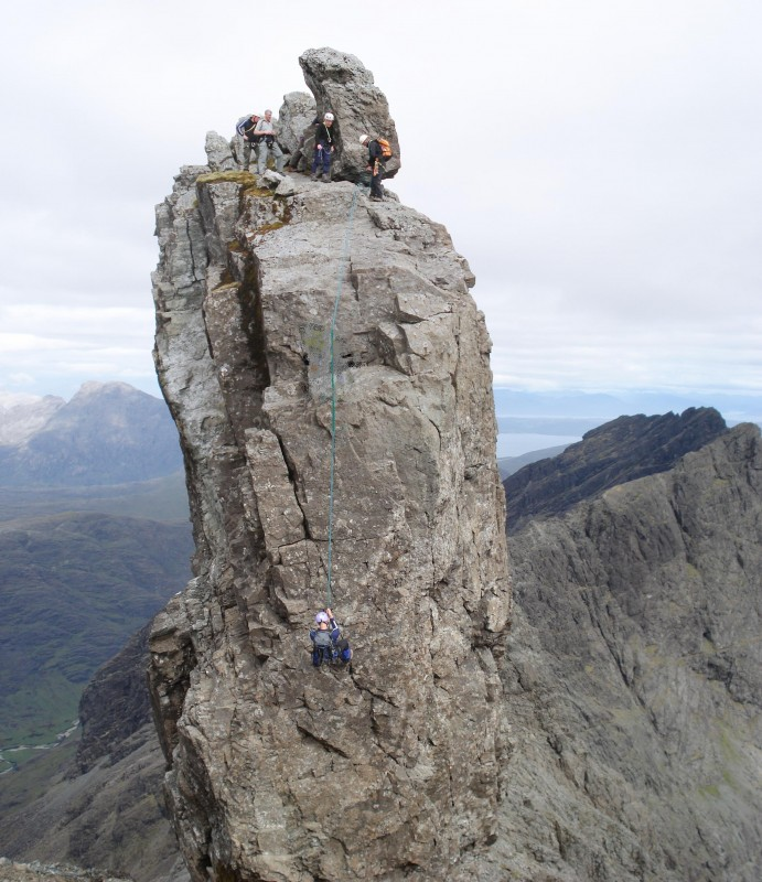 Descending the Innaccessible Pinnacle during the traverse of the Cuillin Ridge June 2007