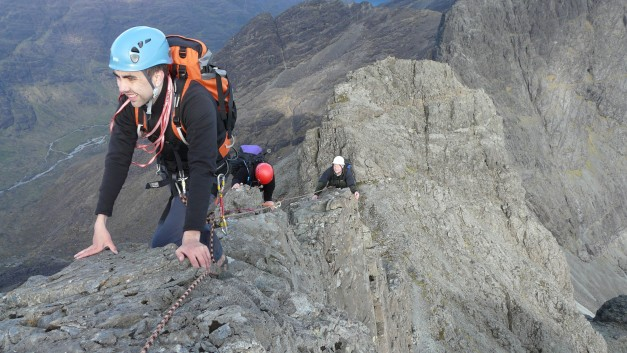 on the top section of the Innaccesible Pinnacle Cuillin Ridge Isle of Skye