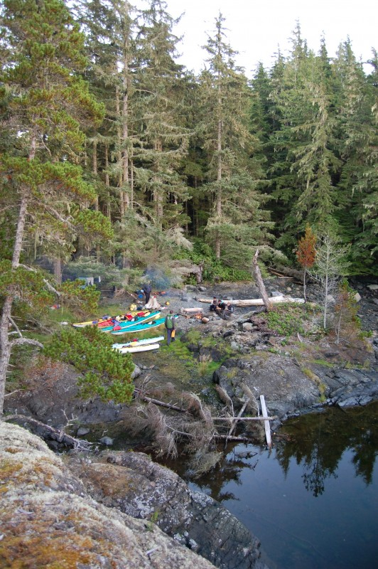 2 Kayak camp Double Bay North Vancouver Island Kayak Expedition